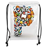 LULUZXOA Gym Bag Printed Drawstring Sack Backpacks Bags,Letter P,Conceptual Typography Design Alphabet and Sports Theme Font Type with Many Balls Decorative,r