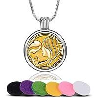 INFUSEU Aromatherapie Ätherisches Öl Diffusor Halskette für Frauen, Mutter Medaillon Anhänger mit 6 Farbe Refill... preisvergleich bei billige-tabletten.eu