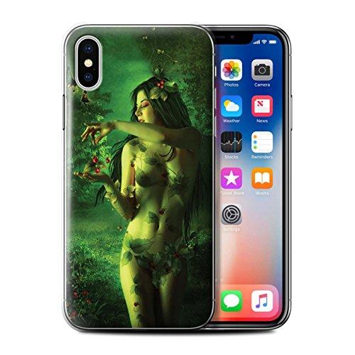 Offiziell Elena Dudina Hülle / Case für Apple iPhone X/10 / Durch Den Wind Muster / Einer mit Natur Kollektion Rote Kirschen