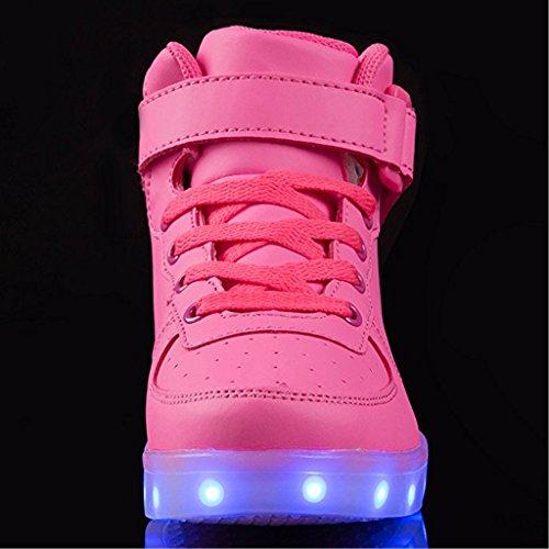 SAGUARO® 7 Farbe USB Aufladen LED Leuchtend Sport Schuhe Sportschuhe Sneaker Turnschuhe für Unisex-Kinder Jungen Mädchen Rose Rot