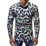 MRULIC Herrenhemd Herbst Lange Ärmel Schmal Geschnittenes Shirt für Partyfest Formeller Anzug mit Mehreren Mustern(C-Mehrfarbig,EU-44/CN-M)