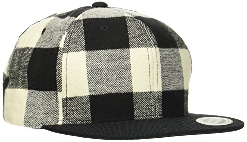 Flex fit Checked Flanell Snapback Chapeau Mixte, Noir/Blanc, Taille Unique