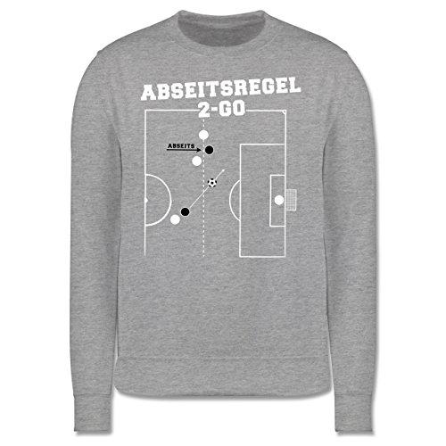 Fußball - Abseitsregel-2-Go - Herren Premium Pullover Grau Meliert