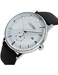 Ilove EU Hombre Mujer Reloj De Pulsera 30m Resistente al agua analógico de cuarzo fecha Business Casual reloj con esfera color blanco y negro correa de piel