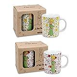 Könitz Porzellan Tassen Set 2 teiligDer kleine Prinz - Roses und Stars im Geschenk Karton schöne Kaffeebecher aus Porzellan ideal als Geschenk