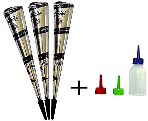 Henna Applicator bottle with 0.3mm, 0.5mm, 0.7mm plastic tips Free with Cone Black Golecha (pack of 3)