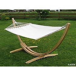 320 cm Conjunto de hamaca (madera de alerce barnizada, incluye hamaca, 320 cm) ASS Blanca
