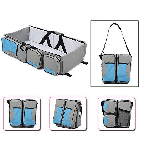 Wickeltasche Baby Reisebett tragbar Wasserdicht Wiege Multifunktional mit Taschen von Sicherheit zusammenklappbar by Hi Suyi grau (3-in-1 Wickeltasche Reisebett)