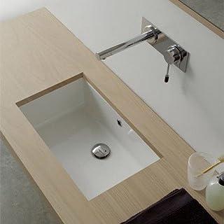Scarabeo 8092-No Hole Miky Rectangular Ceramic Undermount Sink, 35