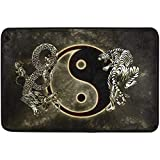 Chinese Dragon Tiger Tai Bagua Yin Yang Black and White Doormat Indoor/Outdoor Washable Garden Office Door Mat,Kitchen Dining Living Hallway Bathroom Pet Entry Rugs with Non Slip Backing