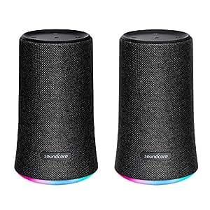 Soundcore Flare Bluetooth Lautsprecher von Anker, Lautsprecher mit 360° Rundum-Sound, Fantastischer Bass, Stimmungs-LED-Licht, IPX7 Wasserfest, 12h Spielzeit für Partys (Schwarz) (Doppelpack)