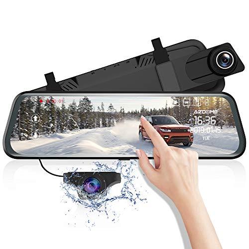 Dashcam Avant Arrière AZDOME 1080P 10' Ecran Tactile Mirror Caméra Embarquée Double Objectif 170°Angle Anti-eblouissement Enregistrement Boucle Moniteur Stationnement