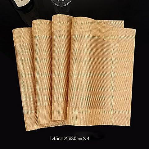 PVC rettangolo isolamento Tabella Mat Pot piastra Holder stuoia della tazza mat 7 generi di colore 4 pezzi 450 * 300mm ( colore : Oro