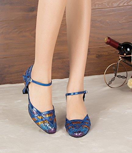 Minitoo Paillettes pour femme Mary Jane Chaussures de danse pour pompes Bleu