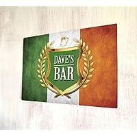 Personalizzato bandiera irlandese Oro Crest, formato A4in metallo targa da parete - Colori Bandiera Irlandese