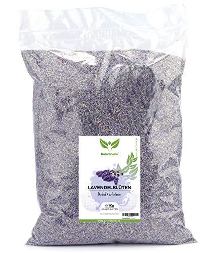 NaturaForte Lavendelblüten 1kg Lavendel ohne Zusätze - Bläulich, Intensiver Duft, Getrocknete Lavendel Blüten für Duftkissen, Duftsäckchen, Lavendelsäckchen, Potpourri Duft