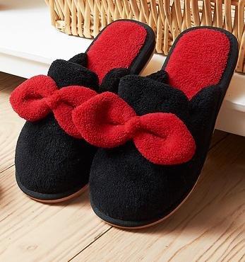 Autunno inverno carino e femminile di prua anti casa coperta di cotone caldo pantofole - ciabatte antiscivolo Black