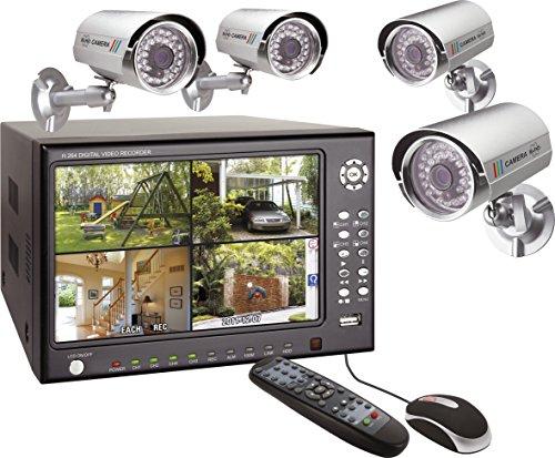 """ELRO DVR74S - GRABADOR DIGITAL 4 CANALES CON DISCO DURO DE 500GB+TFT 7"""" INTEGRADA + 4X CAMARAS A COLOR EXTERNAS CMOS"""