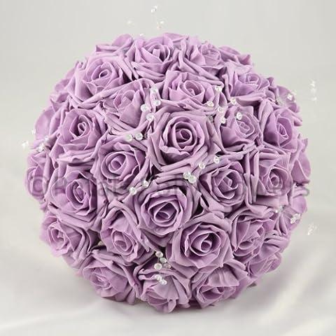 Petals Polly Künstlicher Ansteckstrauß, Brides Bouquet Posy, Lavendel Rosen