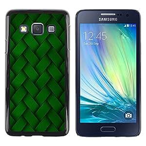 KOKO CASE / Samsung Galaxy A3 SM-A300 / fond d'écran de motif de broderie verte aléatoire / Mince Noir plastique couverture Shell Armure Coque Coq Cas Etui Housse Case Cover