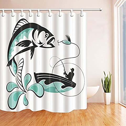 Fish Decor Shower Curtains By KOTOM Man Fishing on Boat Turquoise Water Clipart Artwork Bath Curtains, 69X70