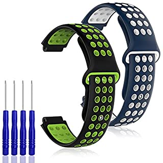 AFUNTA 2PCS Silicone Replacement Band Compatible Garmin Forerunner 220/230/ 235/620/630/735XT & Garmin Approach S20 S5 S6, Soft Strap Wristband, Blue White & Black Green, with 4PCS Screwdrivers
