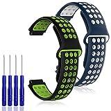 AFUNTA 2 Piezas de Repuesto de Silicona Compatible para Garmin Forerunner 220/230/235/620/630/735XT & Garmin Approach S20 S5 S6, Correa Suave, Azul Blanco y Negro Verde, con 4 Destornilladores