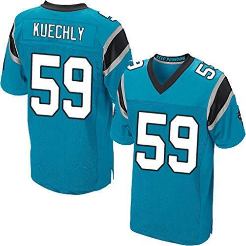 NFL Jersey Carolina Panthers NO.59 Newton Elite Edition Stickerei Fußballbekleidung für Herren Sport Casual Kurzarm Rugby Fan T-Shirts,Blau,XL (Carolina Panthers Trikots Männer)