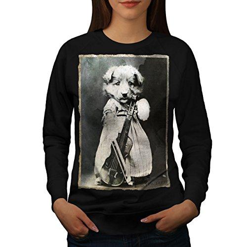 Ancien Animal Photo Chien Femme S-2XL Sweat-shirt   Wellcoda Noir