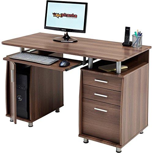 Piranha Trading Großer Computer & Schreibtisch mit Registratur A4, 2Stationery Schubladen & Schrank
