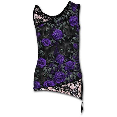 Los vigilantes de metal gótico, rosas gato de la fantasía de todo tapa de la impresión con encaje negro - L - Spiral
