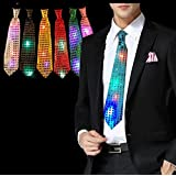 Masti Zone 1 Pcs LED Light Up Tie Necktie LED Men Party Lights Sequins Flashing Necktie Glow In The Dark For Party Night Clubs Bachelore Party /Cocktail Party/Adult Night Party Props
