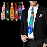 #6: Masti Zone 1 Pcs LED Light up Tie Necktie LED Men Party Lights Sequins Flashing Necktie Glow in The Dark for Party Night Clubs Bachelore Party /Cocktail Party/Adult Night Party Props