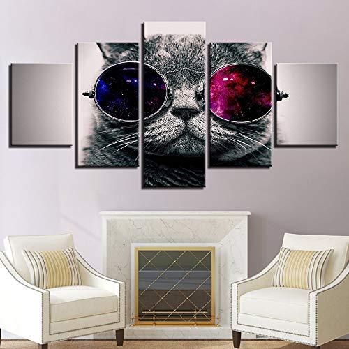 ZSNASD Ölgemälde Wandkunst Leinwand Modulare Plakatdruck Heimtextilien 5 Stück Katze Niedlichen Tier Mit Sonnenbrille Bilderrahmen Wohnzimmer