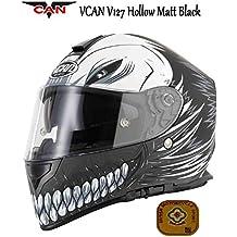 Motocicleta VCAN V127Hollow Negro Mate Casco Moto Full Face Graphic ECE Aprobado por la ACU Oro Sports Touring Casco y rejilla Pasamontañas Negro negro Talla:XL