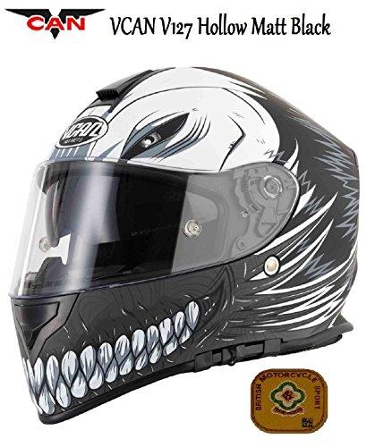 Motociclo VCAN, nero opaco Casco Moto Full Face Graphic ECE ACU Gold testato Sport Touring casco & griglia passamontagna, nero - nero, M