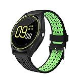 1,22 inch V9 Smart Watch, ultra-dünne Touch Bluetooth Uhr mit Kartensteckplatz Synchronisation Benachrichtigung über Gesundheit Smart Watch (Schwarz + grüne)