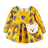 6- 24 mois Bebe Fille Robe Hiver Vetement Ensemble Coeur Motifs T shirt manche Robe Combinaison (18m, Juane)