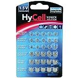 HyCell 30 x Knopfzellen-Sparset Alkaline / Je 5x LR621  LR736  LR626  LR1130  386A. LR1154 / Ideal für Autoschlüssel  TAN-Gerät  Kinderspielzeug  Uhren  Fernbedienung etc.