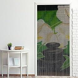 Power-Preise24 Cortina para puerta de bambú ''Nature'' 90 x 200 cm para colgar- Cortina persiana divisoria colorida a ambos lados con 90 hilos con piezas de bambú, Motivo:Jardín zen