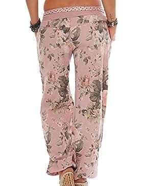 Ketamyy Mujer Moda Imprimir Suelto Cintura Media Pantalones Anchos Casual Pantalones De Linterna Decoración De...