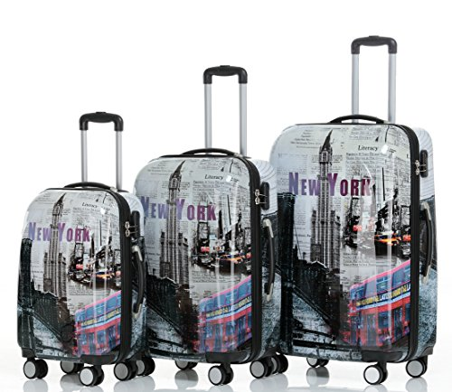 Reisekoffer 2060 Hartschalen Trolley Kofferset in 12 Motiven SET--XL-L--M-- Beutycase (NewYork, 3er Set(XL+L+M))