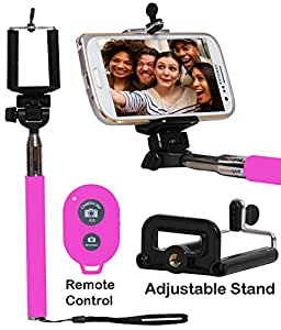 Selfie Stick Monopod With Bluetooth Remote Wireless Shutter Connectivity Compatible For HUAWEI ENJOY 5S-PINK