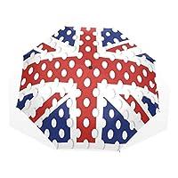 EnnE Polka Dot UK Flag Umbrella Rain Compact Foldable Umbrella Easy Carrying Travel Umbrella Sun UV Protection Lightweight