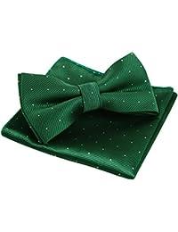 Alizeal Mini Topos-Pajarita y Pañuelo para Hombre Verde Oscuro