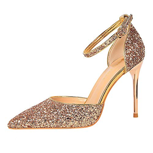0878e61cf00ed LIANGXIE Women's Slip On Pointed Stiletto Toe Heel Pumps Ankle Strap  High-heeled Shoes Girls Sexy Hollow Black Heeled Glitter Bar  Shoe,champagne,34