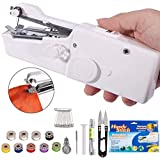 Veecap Electric Craft Mini Lightweight Stitch Handheld Cordless Portable Sewing Machine for Tailoring, Hand Machine for Stitching (White)