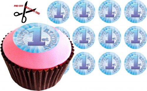 ekor für Cupcakes, für Jungen zum 1. Geburtstag, essbares Reispapier, vorgeschnitten, 38 mm, 12 Stück (Halloween Cupcake Icing-dekorationen)
