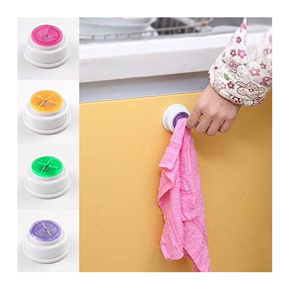Home Cube Rubber Suction Pad Cloth Tea Towel Holder - 4 Pc