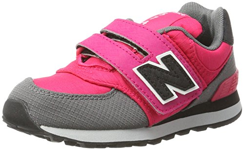 New Balance Unisex-Kinder Sneaker, Mehrfarbig (Pink/Grey), 32.5 EU (13.5 UK Child) New Balance Sneakers Velcro